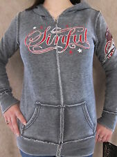 SINFUL by Affliction Womens Bound Gray Rhinestone Zipper Hoodie Shirt Small NWT