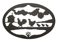 Rooster Hen Chicks Wall Hanging Decor - Chicken Plaque