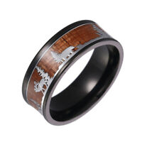 AM_ MEN WOMEN DEER STAG SILHOUETTE TITANIUM STEEL FINGER RING JEWELRY CHRISTMAS