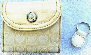 Brighton Bi-Fold Wallet Croc Leather & Tan Cloth Heart Logo Snap Close