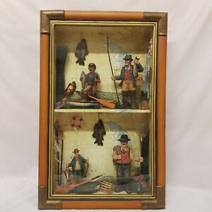 Vintage Fly Fishing Diorama Display FRENCH Glass Case Fisherman Models Rod Reel
