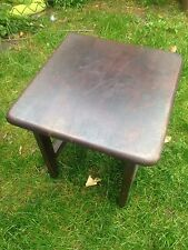 "VINTAGE RETRO BROWN WOODEN ROTATING TOP SIDE COFFEE TABLE TALL 16"" TALL"