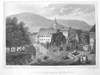 GERMANY Wildbad Spas & Promenade - 1860 Original Engraving Print