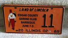 Illinois Specialty License Plate 2002 Edgar County Shrine Club Barbeque  #11
