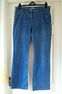 "LADIES M & S JEANS 14 BLUE DISTRESSED DENIM BOOTCUT ZIP 28.5"" LEG 34"" WAIST"