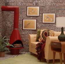 🔥for BARBIE Red FIREPLACE mid century modern LIVING ROOM décor FR BJD 1/6 NEW!