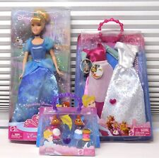 2008 2010 Sparkling Princess Cinderella Doll + Clothes 2 Fashions + Mice Set NEW