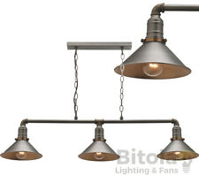 NEW MERCATOR RAFAEL 3 LIGHT CEILING PENDANT AGED NICKEL METAL WITH BRASS MG9233