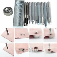 Set of 11 Craft Tool Die Punch Snap Rivet Setter Base Kit For DIY Leather Craft