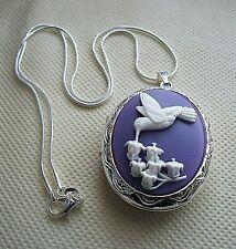 New HUMMINGBIRD Purple Cameo LOCKET NECKLACE 925 Silver pltd Chain VINTAGE STYLE