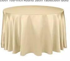 "108"" Round Satin Tablecloth Linen Cloth Dinner Wedding Banquet Gold"