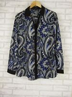 EVENTS Top/Blouse Sz 14 Black, White, Blue Floral Paisley Print