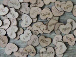"100 qty 1"" FAITH Wood Hearts Table Confetti Wooden Wedding Decor Embellishment"