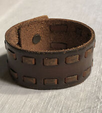 RARE WIDE Vintage Abercrombie & Fitch A&F Leather/Metal Cuff Bracelet Light Lace