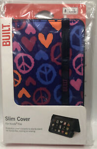 BUILT Slim Cover For Kindle Fire - Summer of Love / Peace Sign / Indigo