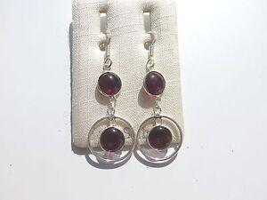 Granat Ohrhänger - Garnet Earrings 925 Silber Nr. E2144