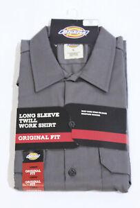Dickies Mens Original Fit Long Sleeve Twill Work Shirt BM6 Gravel Gray Large NWT