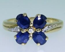 9CT YELLOW GOLD SAPPHIRE DIAMOND 4 LEAF CLOVER CLUSTER ENGAGEMENT RING