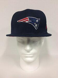 New England Patriots NFL Logo New Era Solid Navy Blue Snap Back Hat Flat Bill