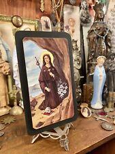 """5"""" Saint Rosalia Disease Protection Card Antique 1960 ITALY Catholic Shrine Icon"""