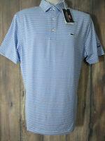Vineyard Vines Performance Mens M Blue White Striped Short Sleeve Polo Shirt NEW