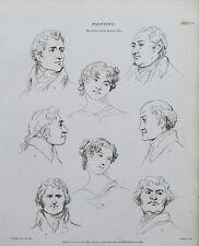 1816 diversités peinture du visage humain impression antique Gravure Rees