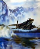 F-15 Fighter Jet Military Aircraft Flying Over The Water Aviation Art Print 8x10