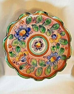VINTAGE M & R HAND PAINTED  SCALLOPED POTTERY PLATE MADE IN ITALY  306/307
