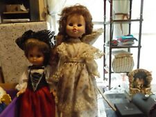 set of 2 Vintage Soft Plastic Dolls In Very Old Dresses 1 16 inches 1 12 inches