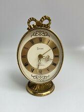 More details for vintage swiza wind-up mechanical 7 jewels 8 day alarm clock brass bow egg shape