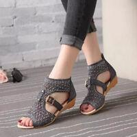Sexy High Heel Sandal Women Sandal Retro Wedges Gladiator Hollow Leather Summer