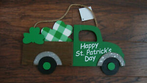 St Patrick's Day decor  Vintage Green Truck Shamrocks Hanging Wall Sign Home