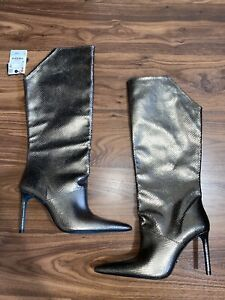 Zara Blue Collection Leather Textured Animal Print Knee High Boots Size 40 New
