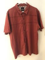PrAna Mens Short Sleeve Button Up Burnt Orange / Red Organic Cotton Size L