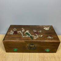 Collect Noble Boxwood Inlay Conch flower bird Usable Precious big Jewelry Box