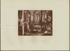 WILLIAM HOGARTH steel engraving 1880 - INDUSTRY AND INDLENESS - PLATE 1