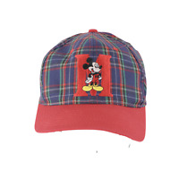 Vintage 90s Walt Disney Mickey Mouse Multi-Color Plaid Spell Out Snapback Hat