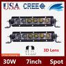 2X 7inch 30W 3D+ Single Row Led Light Bar Slim Spot/Flood Offroad 4WD 12V24V/50W