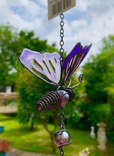 Butterfly Wind Chime Purple & Pink - Dimensions H69.5cm X W9.5cm X D5cm
