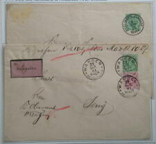 Württemb., 2 St. GA-Umschläge DU5 A I 1891+1893, WANGEN und ESSLINGEN Bhf.