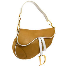 Christian Dior Saddle Hand Bag Beige White Leather Italy MU0030 AK41595