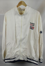 Vintage Adidas 1994 World Cup White Bomber Jacket Embroidered Back Logo Sz XL