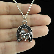 "Silver Alloy Lucky Horseshoe Horse Pendant Short Chain Collar Necklace 18"" Child"