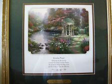 "Thomas Kinkade ""The Garden of Prayer"" Matted Print Framed Lighthouse Publish Coa"