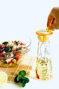 Oil And Vinegar Bottle With Printed Recipe Salad Dressing Stirrer And Pourer