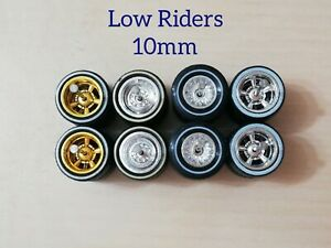 HOT WHEELS REAL RIDERS WHEELS RUBBER TIRES LOWRIDERS WHEELS 10MM MIX WHITE WALL