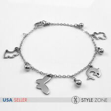 Stainless Steel Butterfly Dolphin Bear Heart Dog Ball Charm Chain Bracelet B78