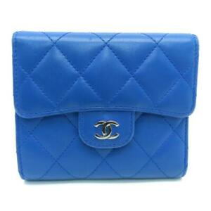 Chanel Quilted CC SHW Wallet Lambskin Leather Blue 8283