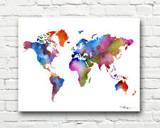 World Map Abstract 11 x 14 Watercolor Painting Art Print by Artist DJ Rogers