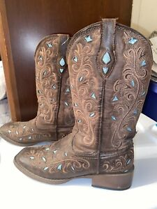 Roper Western Boots Womens Cowboy 6.5 with Turquoise Blue Glitter Inlays